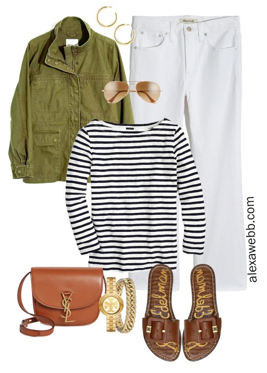 Plus Size Spring Casual Capsule Outfit Idea with an olive utility jacket, cropped bootcut white jeans, stripe t-shirt, and tan crossbody bag - Alexa Webb