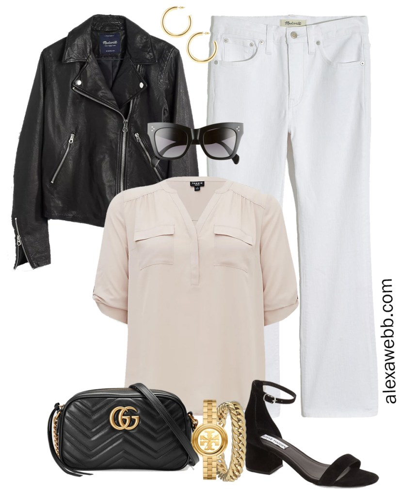 Plus Size Spring Outfit Idea from a Capsule with a Black Leather Biker or Moto Jacket, White Cropped Bootcut Jeans, a Taupe Top, Black Gucci Crossbody Bag, and Black Heeled Ankle Strap Sandals - Alexa Webb