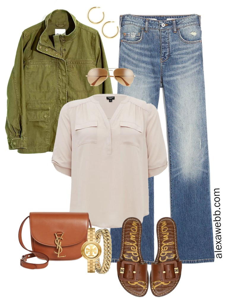 Plus Size Spring Outfit Idea from a Capsule with an Olive Green Utility Jacket, Bootcut Jeans, a Taupe Top, Tan YSL Crossbody Bag, and Tan Slide Sandals - Alexa Webb