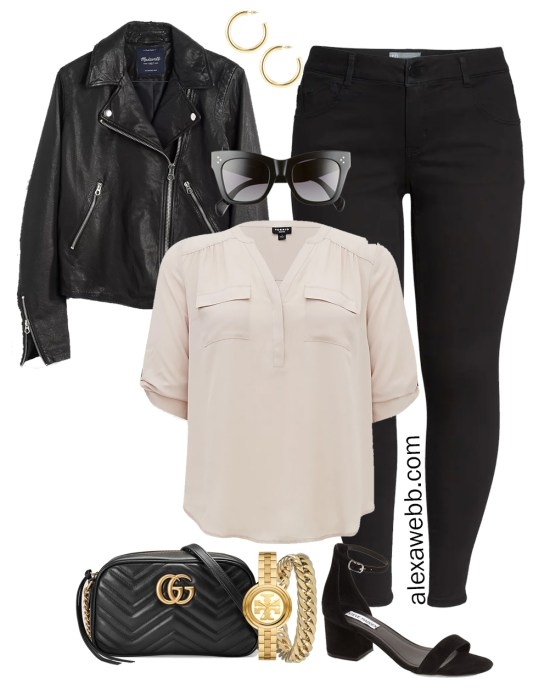 Plus Size Spring Outfit Idea from a Capsule with a Black Leahter Biker Jacket, Black Skinny Jeans, a Taupe Top, Black Gucci Crossbody Bag, and Black Heeled Sandals - Alexa Webb