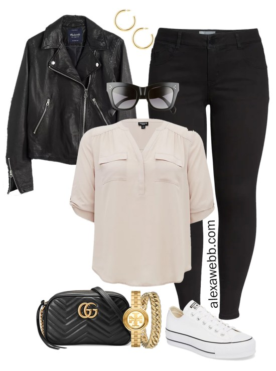 Plus Size Spring Outfit Idea from a Capsule with a Black Leahter Biker Jacket, Black Skinny Jeans, a Taupe Top, Black Gucci Crossbody Bag, and White Converse Platform Sneakers - Alexa Webb