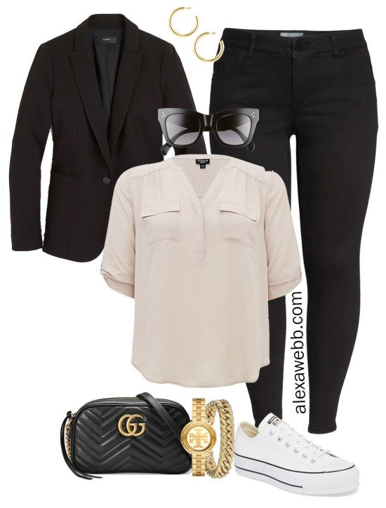 Plus Size Spring Outfit Idea from a Capsule with a Black Blazer, Black Skinny Jeans, a Taupe Top, Black Gucci Crossbody Bag, and White Converse Platform Sneakers - Alexa Webb