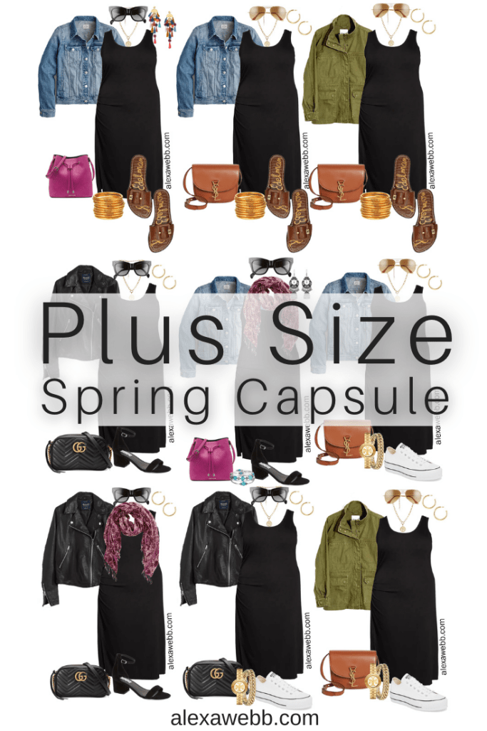 Plus Size Spring Essentials Capsule Wardrobe with a Black Tank Dress styled 10 Ways - Alexa Webb