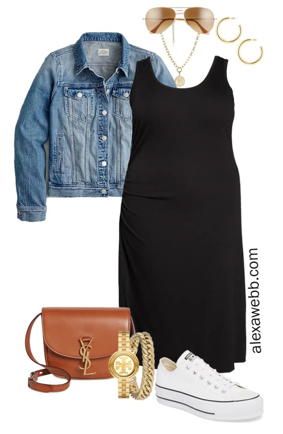 Plus Size Black Tank Dress Outfit for Spring and Summer with a Denim Jacket, Tan Crossbody Bag, and White Platform Sneakers - Alexa Webb