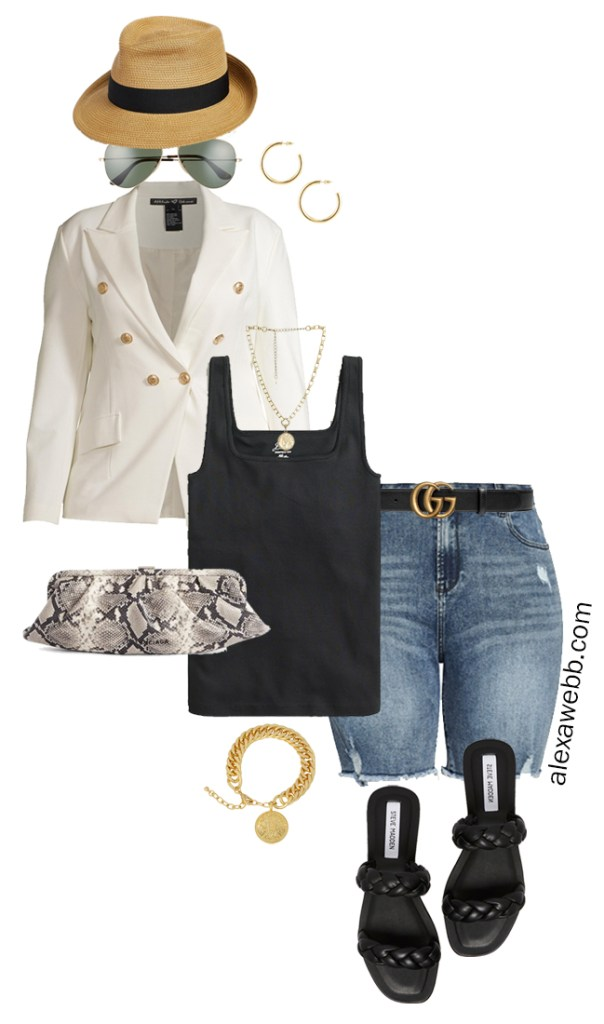 Plus Size White Blazer Outfits – Night Out Cut-Offs with black tank top, white double-breasted blazer, cut-off denim shorts, Gucci belt, snake clutch, and braided sandals - Alexa Webb
