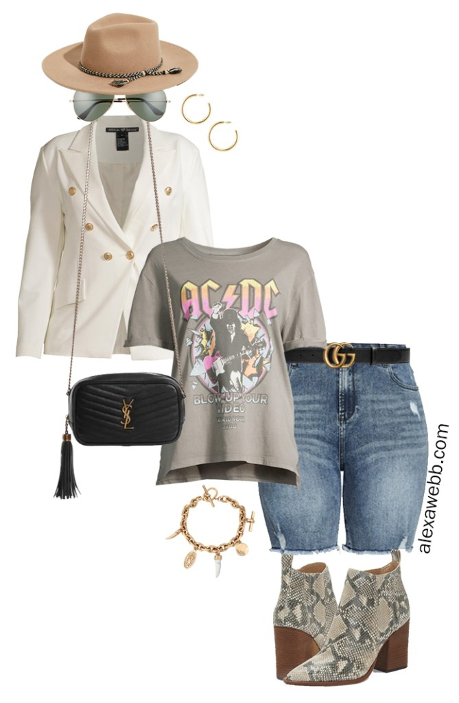 Plus Size White Blazer Outfits with a double-breasted white blazer, graphic t-shirt, cut-off denim shorts, Gucci belt, snake booties, and a crossbody bag - Alexa Webb