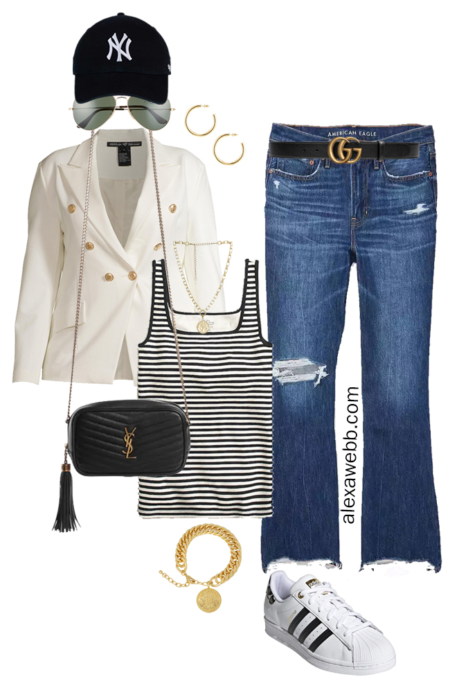 Plus Size White Blazer Outfits – Sporty Cut-Offs with a white double-breasted blazer, stripe tank top, flared jeans, crossbody bag, baseball cap, and Adidas Superstar Sneakers - Alexa Webb
