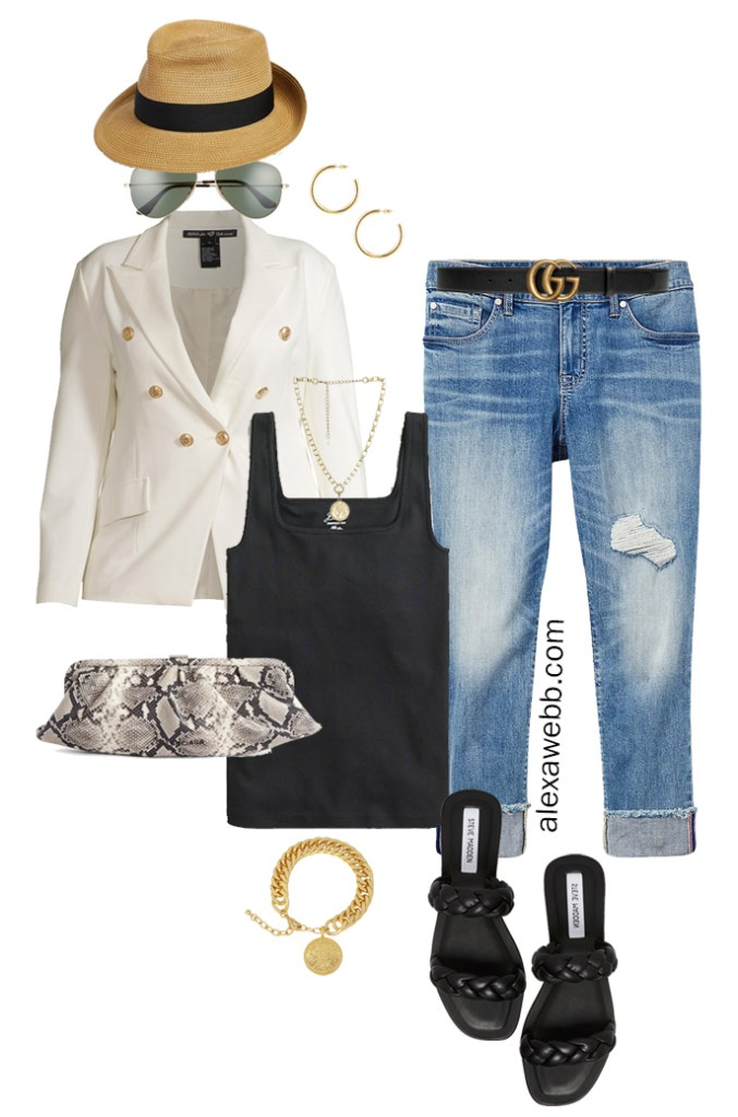 Plus Size White Blazer Outfits – Night Out Cut-Offs with black tank top, white double-breasted blazer, boyfriend jeans, Gucci belt, snake clutch, and braided sandals - Alexa Webb