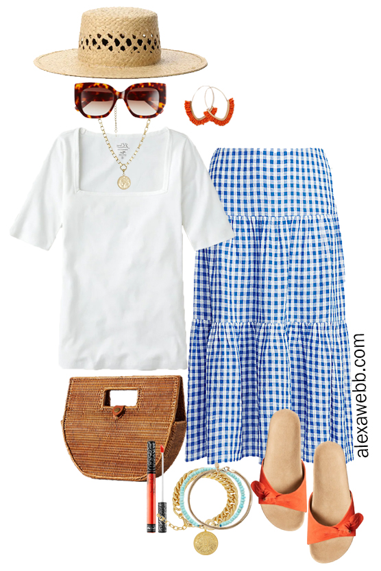 Plus Size Gingham Skirt Outfit with white squareneck tee, orange sandals, straw clutch, and statement earrings - Alexa Webb
