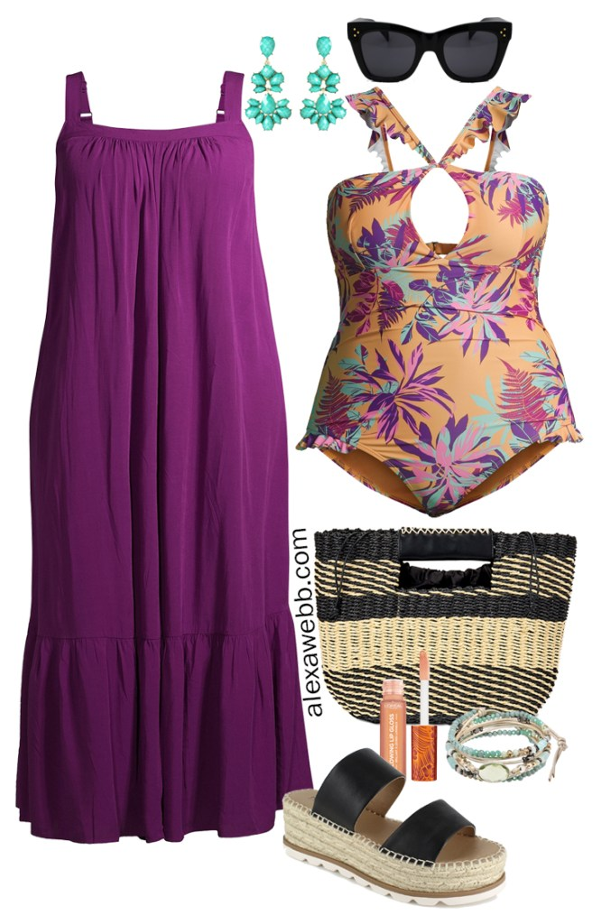 Plus Size Swimwear with a Plus Size Swimsuit, Straw Bag, Sandals, and a Purple Maxi Drerss - Alexa Webb