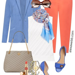 Plus Size Summer Work Capsule Outfit Idea with Coral Pants, Blue Sweater Blazer, Floral Scarf, and Grey Tote Bag - Alexa Webb