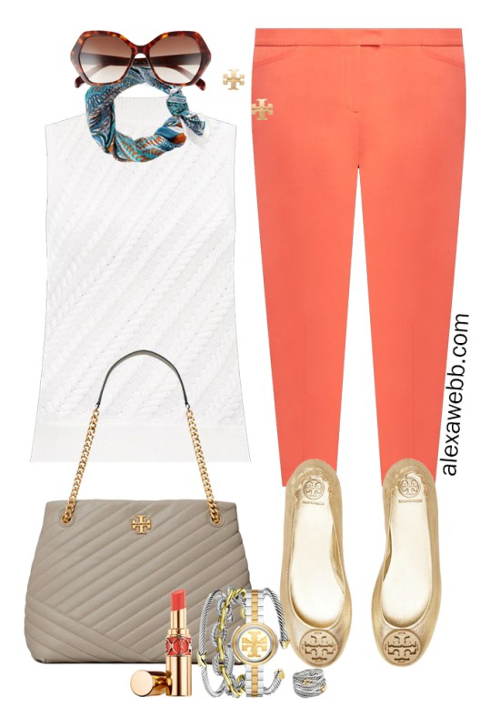 Plus Size Summer Work Capsule Wardrobe Outfit Idea with Coral Ankle Pants, a Sleeveless Sweater, Scarf, and Gold Flats - Alexa Webb