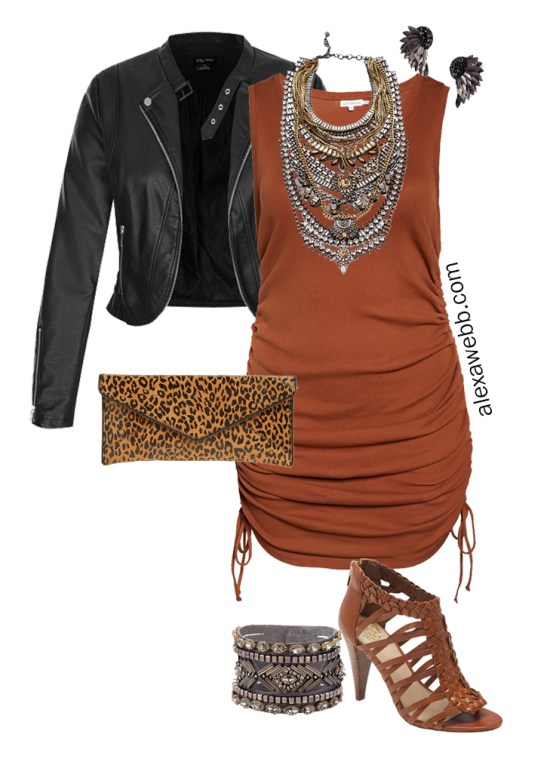 Plus Size Brown Tank Dress Outfits - Night Out Outfit with Rust Brown Tank Dress, Cropped Faux Leather Moto Jacket, Leopard Clutch, and Statement Necklace - Alexa Webb