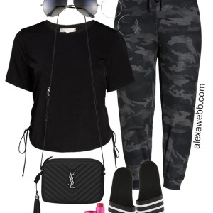 Plus Size Joggers Athleisure Outfit with Camo Joggers, Adidas Slides, and Crossbody Bag - Alexa Webb