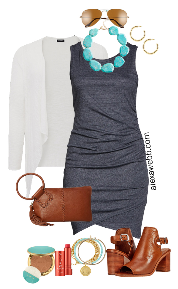 Plus Size Casual Summer Dress Outfit with a grey ruched knit dress, a white cardigan, turquoise slab bib necklace, wristlet clutch, and casual heels - Alexa Webb