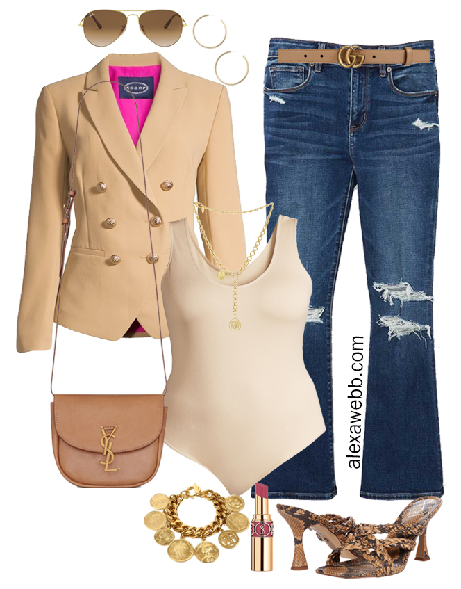 Plus Size Summer Blazer Outfits - Kick Flares with Beige Bodysuit, Double-Breasted Blazer, Gucci Belt, Crossbody Bag, and Snake Kitten Heeled Sandals - Alexa Webb
