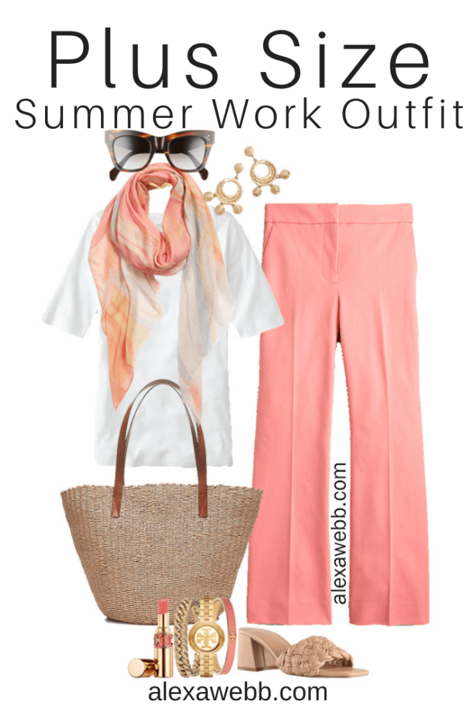 Plus Size Summer Business Casual Outfit with Coral Pants, White Top, Silk Scarf, and Slide Sandals - Alexa Webb