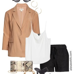 Plus Size Linen Outfits with black linen shorts, tan blazer, white cami, snake clutch, and heeled sandals - Alexa Webb