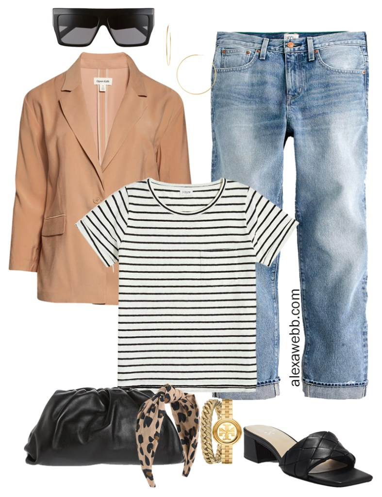 Plus Size Micro Capsule Outfit with Boyfriend Jeans, a Striped T-Shirt, Lightweight Blazer, and Slide Sandals - Alexa Webb
