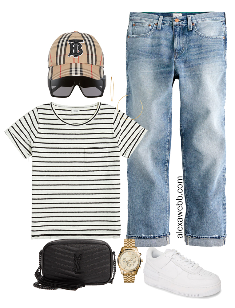 Plus Size Micro Capsule Outfit with Boyfriend Jeans, a Striped T-Shirt, and Sneakers - Alexa Webb