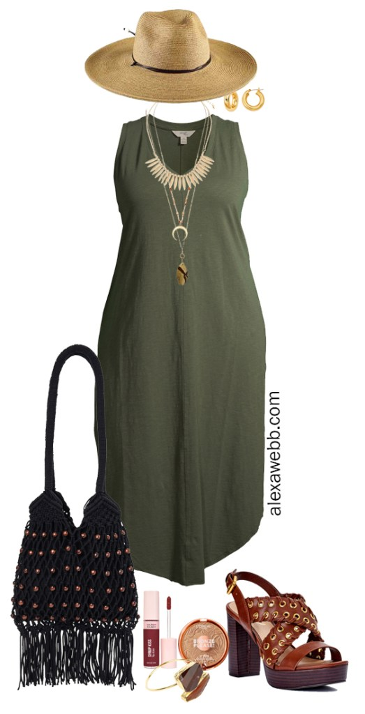 Plus Size Boho Summer Outfits with Walmart featuring an olive green maxi tank dress, platform heeled sandals, a macrame hobo bag, and a wide brim fedora hat - Alexa Webb