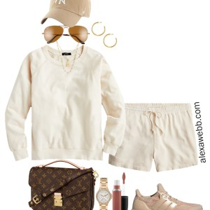Plus Size Summer Athleisure Outfit with Matching Plus Size Ivory Cream Sweatshirt and Shorts, a baseball cap, adidas sneakers, and Louis Vuitton crossbody bag - Alexa Webb