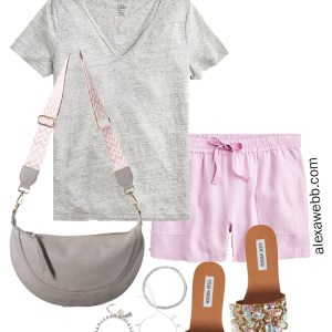 Plus Size Pastel Summer Outfit Ideas - Linen Shorts in Light Lavender, Grey T-Shirt, Crystal Embellished Slide Sandals, Anthropologie Crossbody Bag, and Aviator Sunglasses - Alexa Webb