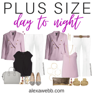 Plus Size Day to Night Outfits with Lilac Double Breasted Blazer and White Trousers - Alexa Webb