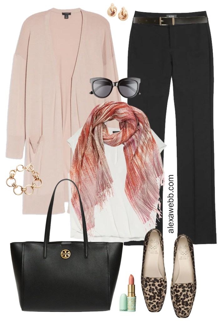 Plus Size Work Outfits that are Business Casual with Blush Pink Cardigan, Black Trousers, Blouse, Scarf, and Leopard Loafers - Alexa Webb