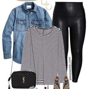 Plus Size 2021 Nordstrom Anniversary Sale - Faux Leather Leggings Outfits with a striped t-shirt, chambray shirt, crossbody bag, snake ankle booties, and felt fedora - Alexa Webb