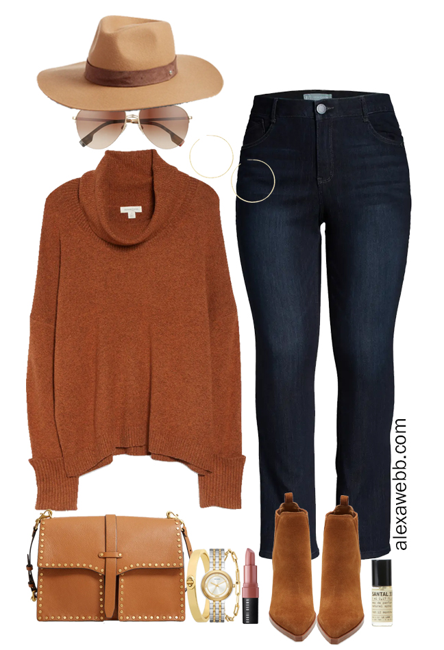 Plus Size 2021 Nordstrom Anniversary Sale Outfit with turtleneck sweater, bootcut jeans, and ankle booties - Alexa Webb