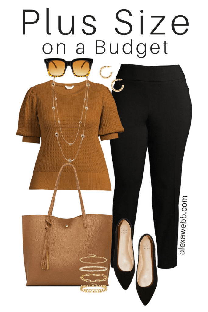 Plus Size on a Budget – Summer Business Casual Outfits with Neutral Colors including Black Pants, a Rust Top, and Black Flats - Alexa Webb