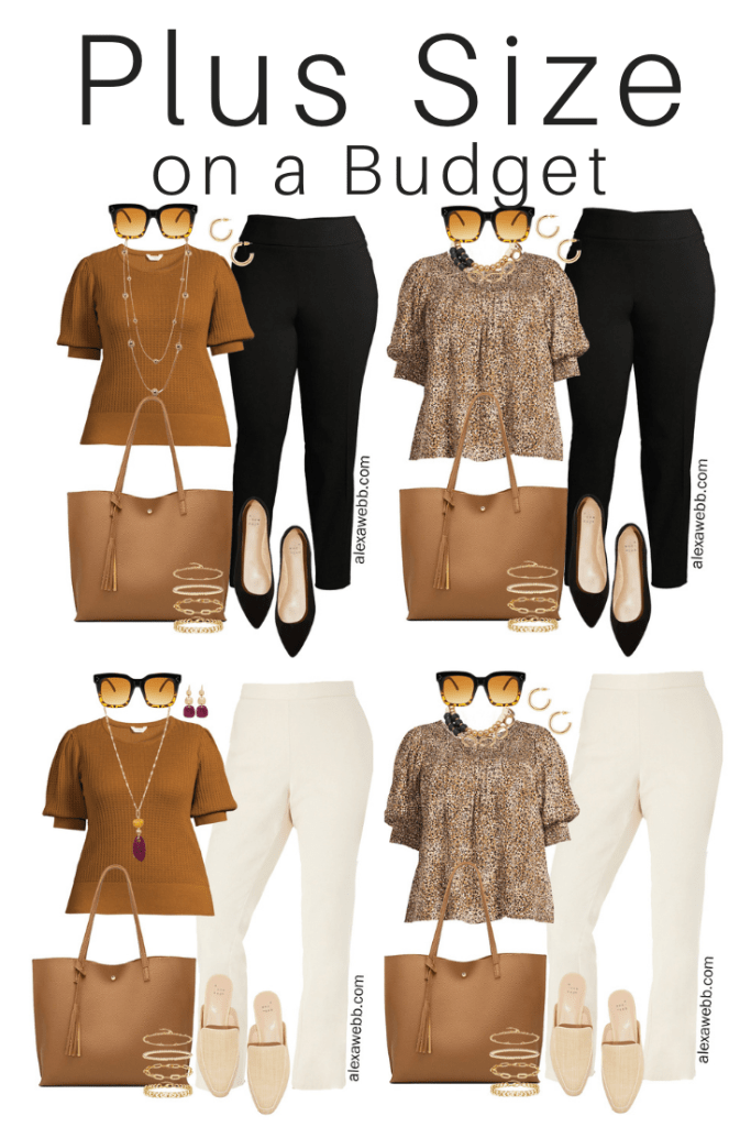 Plus Size on a Budget – Summer Business Casual Outfits with Neutral Colors including Black Pants, Bone Trousers, a Leopard Blouse, and Rust Top - Alexa Webb