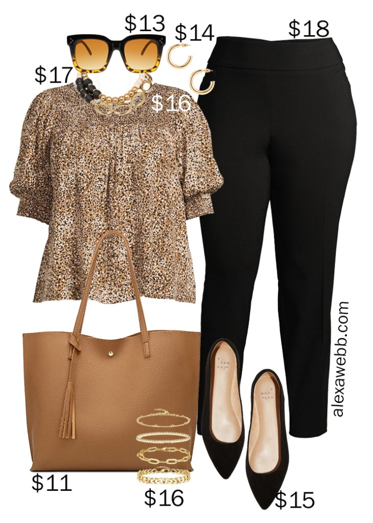 Plus Size on a Budget – Summer Business Casual Outfits with Black Pants, a Leopard Blouse, and Black Flats - Alexa Webb