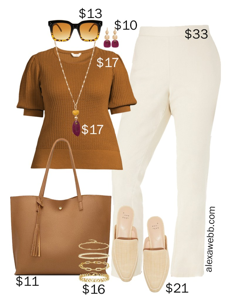 Plus Size on a Budget – Summer Business Casual Outfits with Neutral Colors including Linen Pants, a Rust Top, and Mules - Alexa Webb