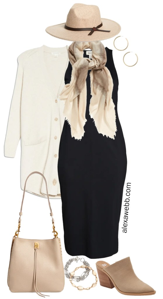 Plus Size Black Dress Outfits for fall with an ivory boyfriend cardigan, taupe mules, neutral scarf, and rancher hat. A trendy boho and Western-inspired outfit with a black midi knit dress styled by Alexa Webb.
