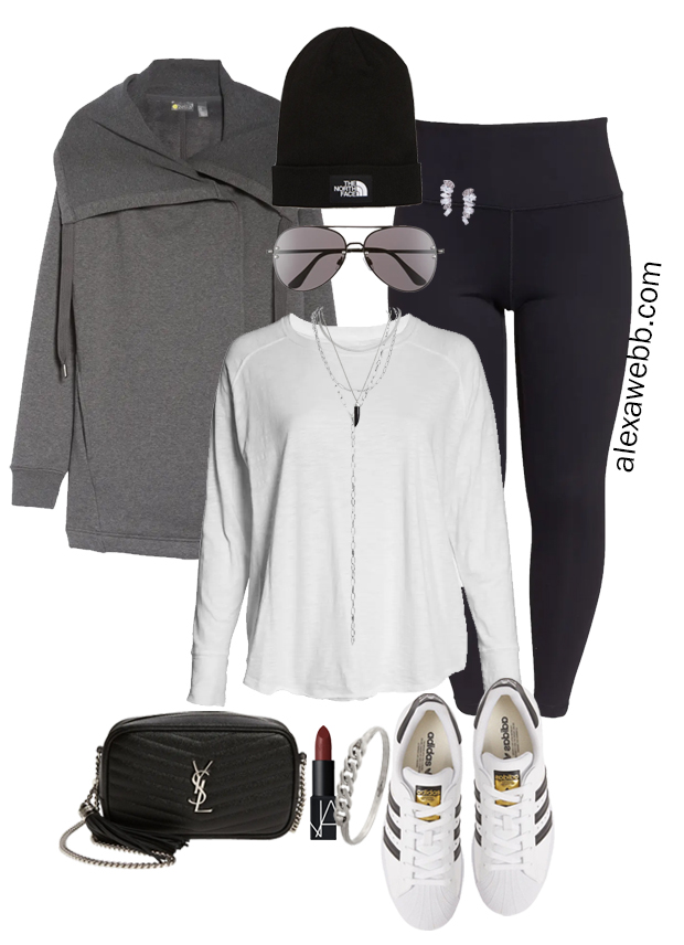 Plus Size Fall Athleisure Outfit Idea with leggings, a wrap jacket, and adidas Superstar sneakers. Alexa Webb