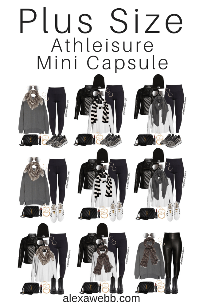Plus Size Athleisure Mini Capsule Wardrobe for Fall. A plus size athleisure mini capsule for fall with leggings. Great for lounging or running errands with over 25 outfit ideas from Alexa Webb.
