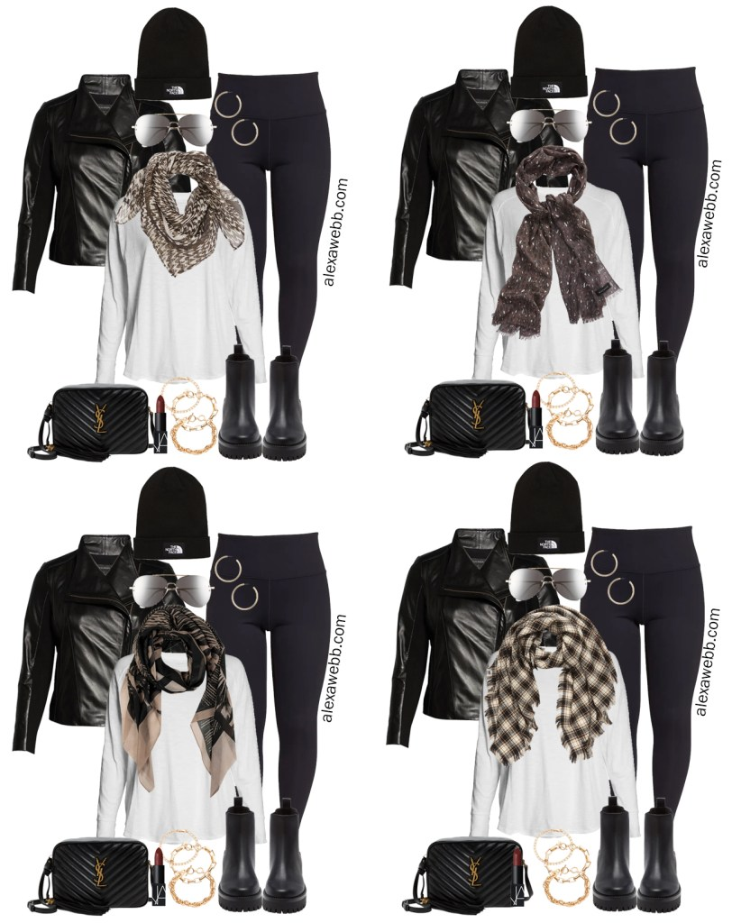 Plus Size Moto Jacket Outfits from a Plus Size Athleisure Mini Capsule for Fall. Same look, 4 scarves. Alexa Webb