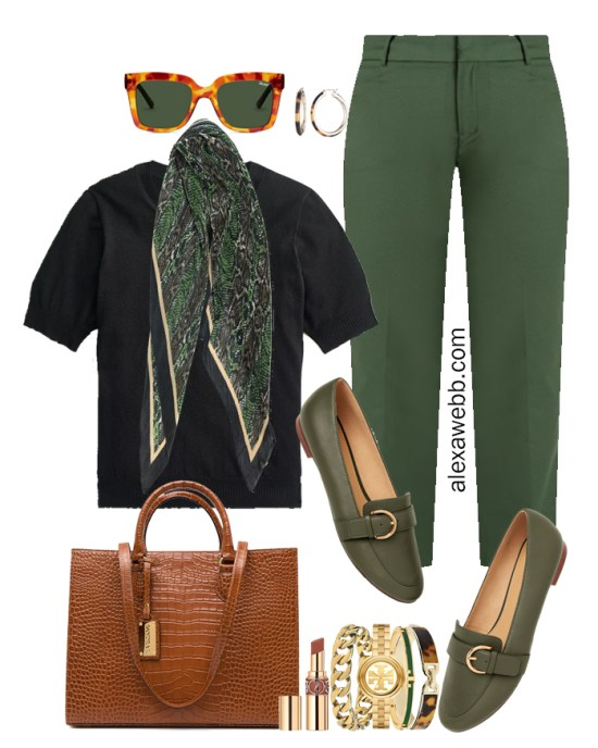 2021 Plus Size Fall Work Capsule Wardrobe by Alexa Webb. This is just part one of a series. This business casual outfit idea features green pants, a black silk sweater, and green loafers..