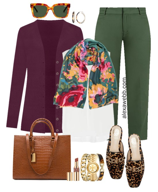 Plus Size Green Pants & Eggplant Cardigan Outfits from Alexa Webb's 2021 Plus Size Fall Work Capsule Wardrobe