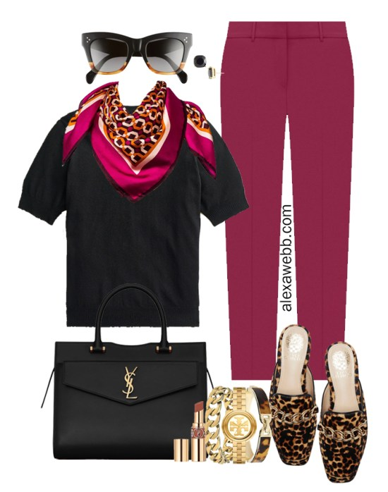 Plus Size Plum Pants & Black Silk Sweater Outfits from Alexa Webb's 2021 Plus Size Fall Work Capsule Wardrobe. This outfit features a pink printed silk scarf, leopard mules, and a YSL black satchel.