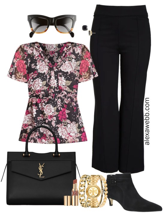 Plus Size Black Trousers Outfit from Alexa Webb's 2021 Plus Size Fall Work Capsule Wardrobe. This business casual outfit features ashort-sleeve printed blouse, black ankle booties, and a black Saint Laurent satchel.