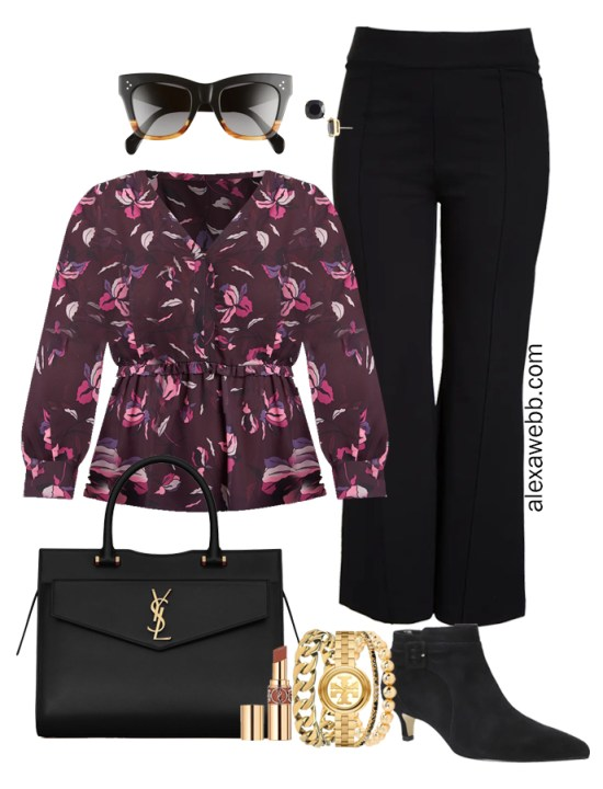 Plus Size Black Trousers Outfit from Alexa Webb's 2021 Plus Size Fall Work Capsule Wardrobe. This business casual outfit features a printed blouse, black ankle booties, and a black Saint Laurent satchel.