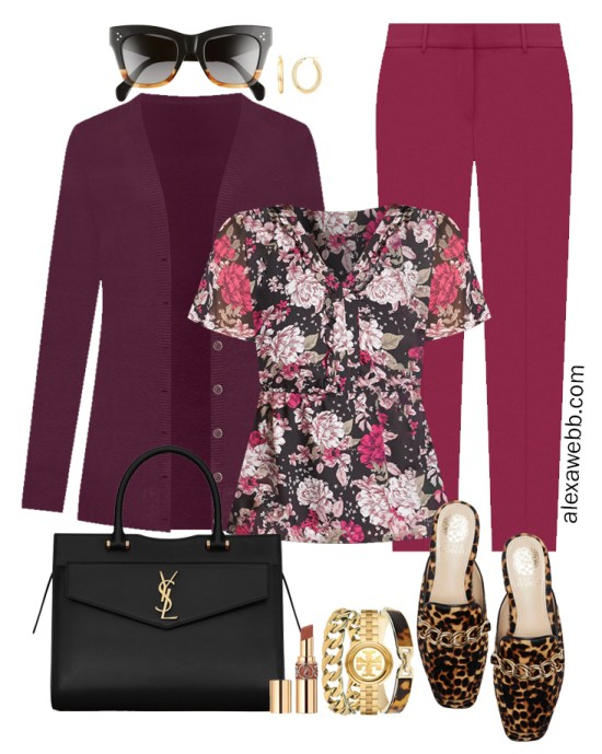 Plus Size Plum Pants and Eggplant Cardigan Outfit from Alexa Webb's 2021 Plus Size Fall Work Capsule Wardrobe. This business casual outfit features a printed blouse, leopard mules, and a black Saint Laurent satchel.