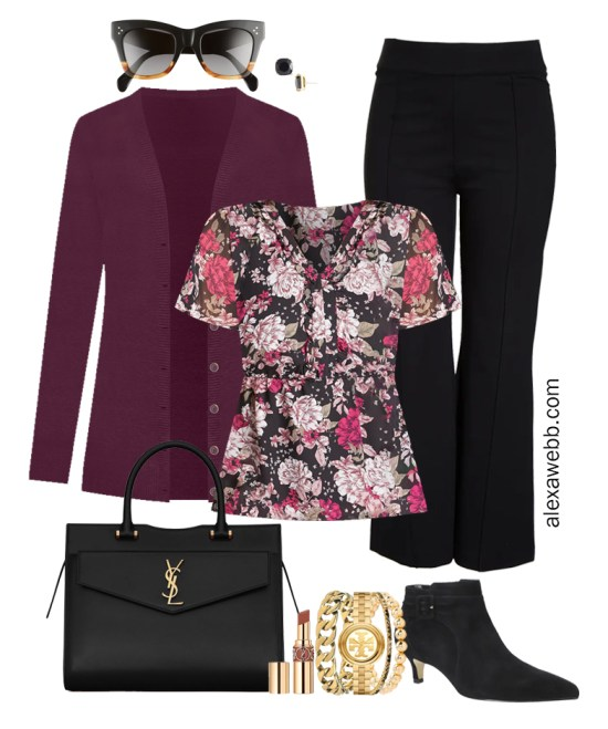 Plus Size Black Flared Pants and Eggplant Cardigan Outfits from Alexa Webb's 2021 Plus Size Fall Work Capsule Wardrobe. This business casual outfit features a short sleeve floral printed blouse, black ankle booties, and a black Saint Laurent satchel.