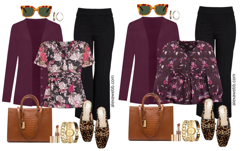 Plus Size Black Flared Pants and Eggplant Cardigan Outfits from Alexa Webb's 2021 Plus Size Fall Work Capsule Wardrobe. These business casual outfits feature printed blouses, leopard mules, and a cognac croc tote.