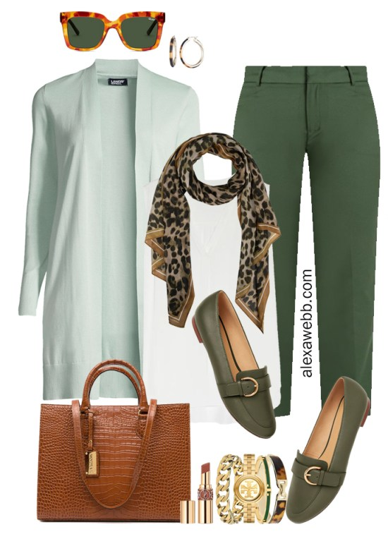 2021 Plus Size Fall Work Capsule Wardrobe by Alexa Webb. This is just part one of a series. This business casual outfit idea features green pants, a mint cardigan, and a leopard scarf.