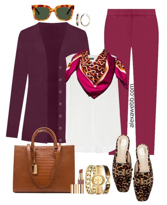 Plus Size Plum Pants and Eggplant Cardigan Outfits from Alexa Webb's 2021 Plus Size Fall Work Capsule Wardrobe. This business casual outfit features a pink printed silk scarf, leopard mules, and a cognac tote.