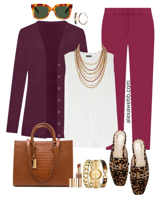 Plus Size Plum Pants and Eggplant Cardigan Outfits from Alexa Webb's 2021 Plus Size Fall Work Capsule Wardrobe. This business casual outfit features a beaded and chain statement necklace, leopard mules, and a cognac tote.